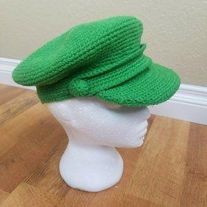 GAP green cap knit hat size M/L newsboy cabbie